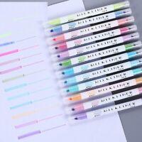 Students Highlighter Pen Mild liner Marker Brush Pastel Watercolor 12 Colors/Box