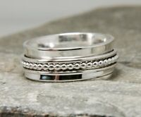 Solid 925 Sterling Silver Spinner Ring Meditation Statement Ring Size sr 24491