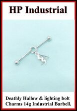 Sterilized Surgical Steel 14g Harry Potter Charms Industrial Barbell.