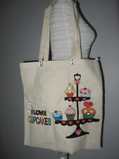 Cotton Shopper Bag Handmade with I Love Cupcakes Design Bead Embellished FREEPOS