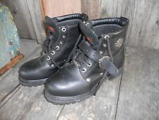 Women's Black Leather Harley Davidson Lace Up Motorcycle Boots - Size 6.5