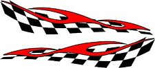 "checkered flag & flame racing vinyl graphics decal sticker set 11"" x 48"""