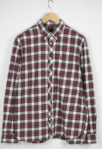 FRED PERRY M8314/560/00715/269 Men's LARGE Flannel Button Down Shirt 32288_JS