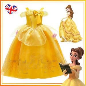 Girls Kids Belle Princess Fancy Dress Party Cosplay Costume Outfit Birthday Gift