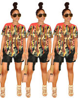 Fashion New Women's O Neck Short Sleeves Color Camouflage Print Casual Tops Club