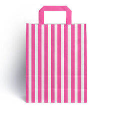 50 x Pink Candy Stripe Paper Party Gift Bags with Handles 18cm x 23cm + 8.5cm