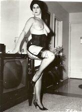 Org Vintage 1960s Nude RP- Well Endowed Brunette in Corset- Stockings- Heels- TV