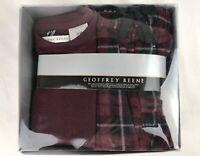 GEOFFREY BEENE Men's Burgundy Sleep Set Fleece Pants + Long Sleeve Shirt Size M