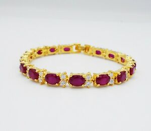 Gorgeous Thai Ruby Cubic Zirconia 22k Yellow Gold Plated Bracelet Women Jewelry