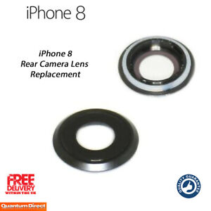 NEW iPhone 8 Rear Camera Lens Cover (Glass with Frame) Replacement - BLACK