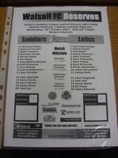 10/10/2007 Walsall Reserves v Oldham Athletic Reserves  (team changes). Thanks f
