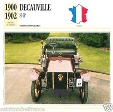 DECAUVILLE 8HP 1900 1902 CAR VOITURE FRANCE CARTE CARD FICHE