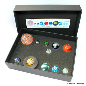 Solar System Model Orrery Globe Display Glass Marbles in Presentation Box