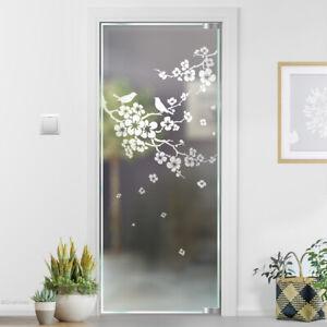 Glasdekor Kirschblüte Vögeln Glastür Tür Deko Glastattoo Sandstrahloptik G324