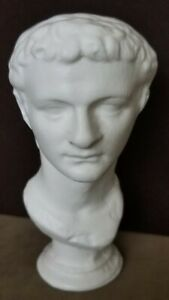 Ancient Roman Empire Emperor Caligula Antique White Marble Tone Bust Statue