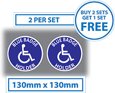 2 x Disabled Stickers Blue Badge Holder Vinyl Car Stickers 130mm Parking Sticker