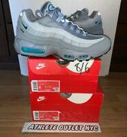 New Nike Air Max 95 Wolf Grey Aqua Blue Men's Size 8-10 Sneakers CV1635-001