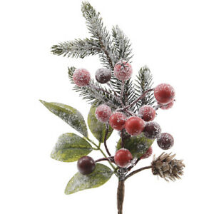 24cm Artificial Frosted Pine and Red Berry Stem for Christmas Floristry Crafts