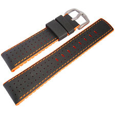 24mm Hirsch Performance Robby Black Sailcloth and Orange Rubber Watch Band Strap
