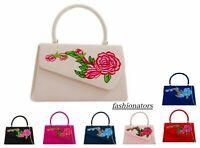 New Women's Faux Suede Clutch Bag Top Handle Evening Bag Party Box Handbag Purse