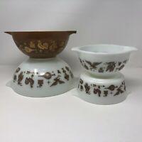 VTG Pyrex Early American Set Of 3 Cinderella Brown White Bowls 441 442 443 472