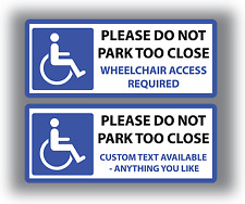 2 x Disabled Car Stickers Parking Signs Wheelchair Access Vinyl Custom Text