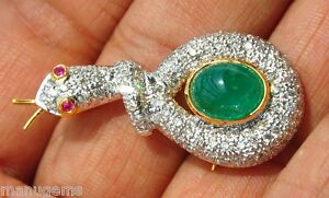 18KT AAA 7CT EMERALD 2.8CT DIAMOND SNAKE BROOCH COLLAR COLLIER HALSKETTE ネックレス