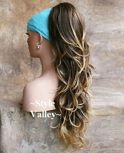 Brown Blonde Ponytail Extension Long Hairpiece Wavy Clip on Hair Piece #24bt18