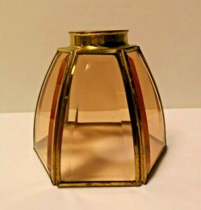 """Polished Brass PINK 2.25"""" Cognac Bent Bound Beveled Fan Glass 81204 NEW WOW!"""