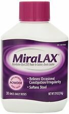 30 doses MiraLAX Laxative Unflavored Powder Grit-Free Polyethylene Glycol 3350
