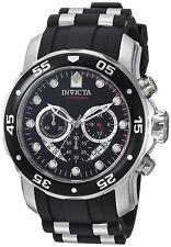 Invicta Reloj Hombre Black Silver Plata Steel Crystal Rubber Band Watch Hand Arm