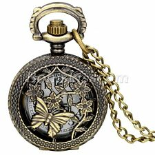 Retro Bronze Tone Hollow Butterfly Arabic Number Quartz Small Pocket Watch Chain