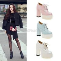Ladies Lace Up Platform Block High Heel Ankle Boots Booties Shoes Plus Size C-3