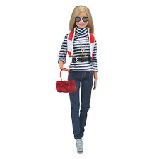 New Princess Clothes Shirt+Pants + Shoes +Accessories Outfit for Barbie Doll