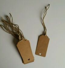 20 Brown craft heart Gift plant Tags with string Rustic Natural Brown Luggage