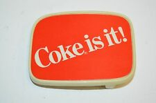"Vintage Hard Plastic ""COKE Is It!"" Coca Cola Red Employee Promo Belt Buckle Rare"