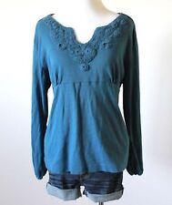 Women's Crochet Knit V Neck Empire Waist Babydoll Long Sleeve Top Blouse Shirt L