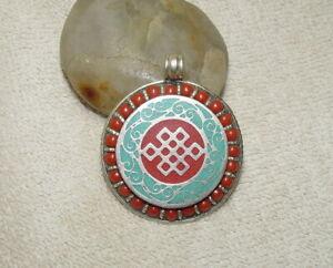 Tibet Talisman Amulette Silber Anhänger Gewürzdose Mosaik Koralle & Silberdraht