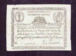 9 PAOLI EXTRA FINE BANKNOTE FROM REPUBLICA ROMANA 1798 PICK-S539