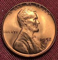 1952 S Lincoln Wheat Cent Penny Red Gem BU+ Brilliant Uncirculated