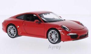Welly NEX Porsche 911 991 Carrera S Red Diecast Model Car in 1:24 Scale