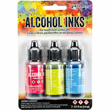 Tim Holtz Alcohol Ink .5oz 3/Pkg Dockside Picnic-Watermln/Citrus/Sailboat #10