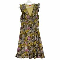 LEONA EDMISTON Women's Size 1 / AU 10 Green Floral Midi Length Wrap Dress
