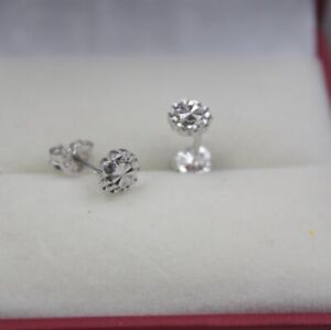 Real Platinum 950 Earrings Woman's 5.5mm Carved Snowflake Lucky Stud / Pt950