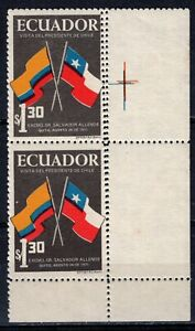 ECUADOR 1971 PAIR STAMPS CORNER SHEET O.G. FLAGS VARIETY DOUBLE PERFORATION