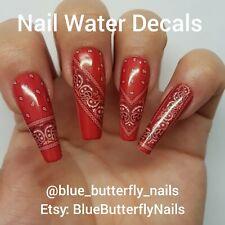 1162 - Red Paisley Bandana Bandanna Nail Water Decals