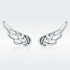 925 Sterling Silver Cute Angel Wings Hollow Climbers Ear Studs Stunning Earrings