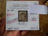 NOVA SCOTIA  QUEEN VIC GREY PURPLE 2c  STAMP G.U S.G 22  WHITE  PAPER