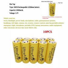 10PCS 26650 Batterie 12800mAh 3.7V Li-ion Rechargeable Battery for Outil Jouet