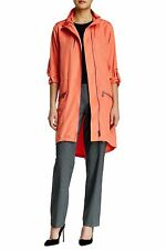 Elie Tahari Women's Zip Front Long Sleeve Molly Coat, Orange Size Small S 4784